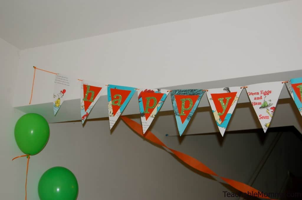 Green Eggs and Ham Birthday Party Decorations, Green Eggs and Ham Banner, DIY Birthday Banner