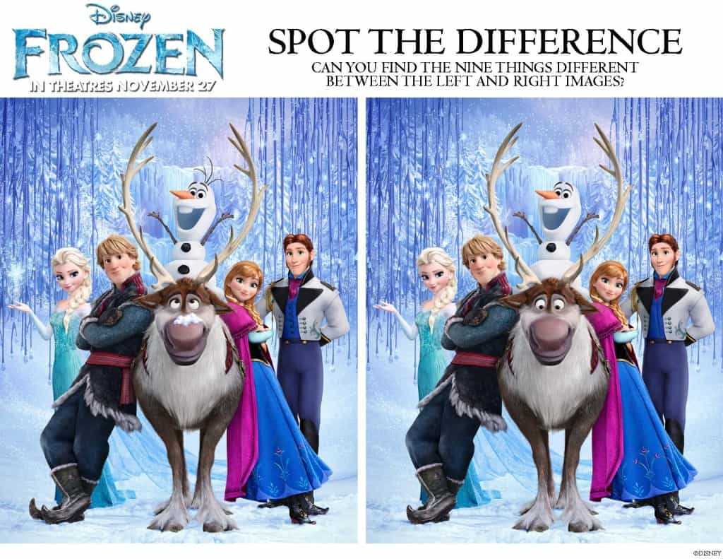 Spot the Difference, Frozen free printables!