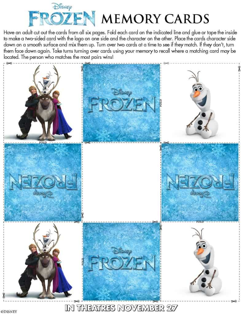 Frozen Memory Game Free Printable!