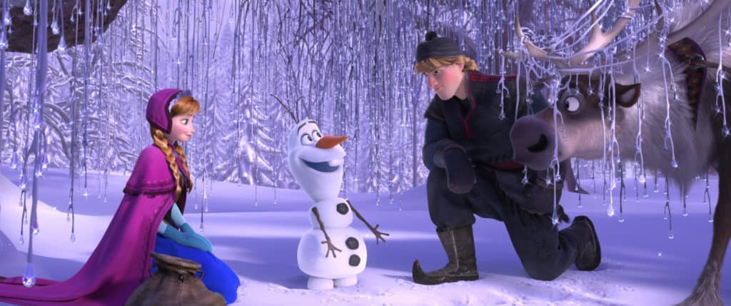 Frozen Anna, Kristoff, and Olaf