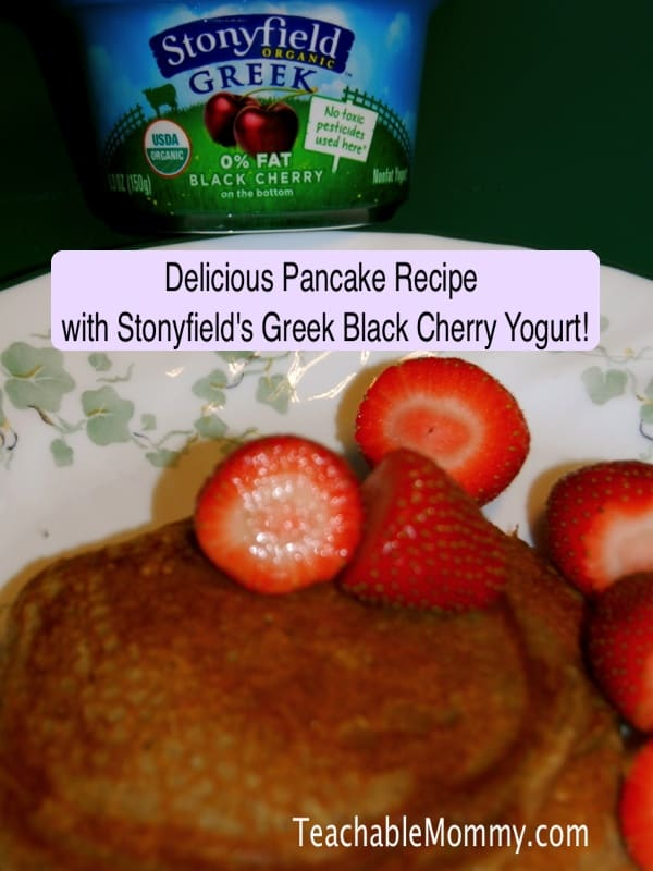 Greek Yogurt Pancakes recipe, Stonyfield Greek Yogurt #StonyfieldGreek