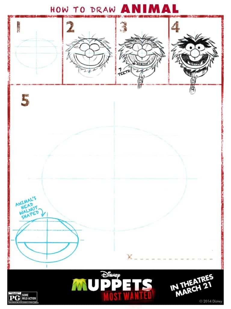 Draw animal, Muppets Most Wanted Free printables, Muppets free printable