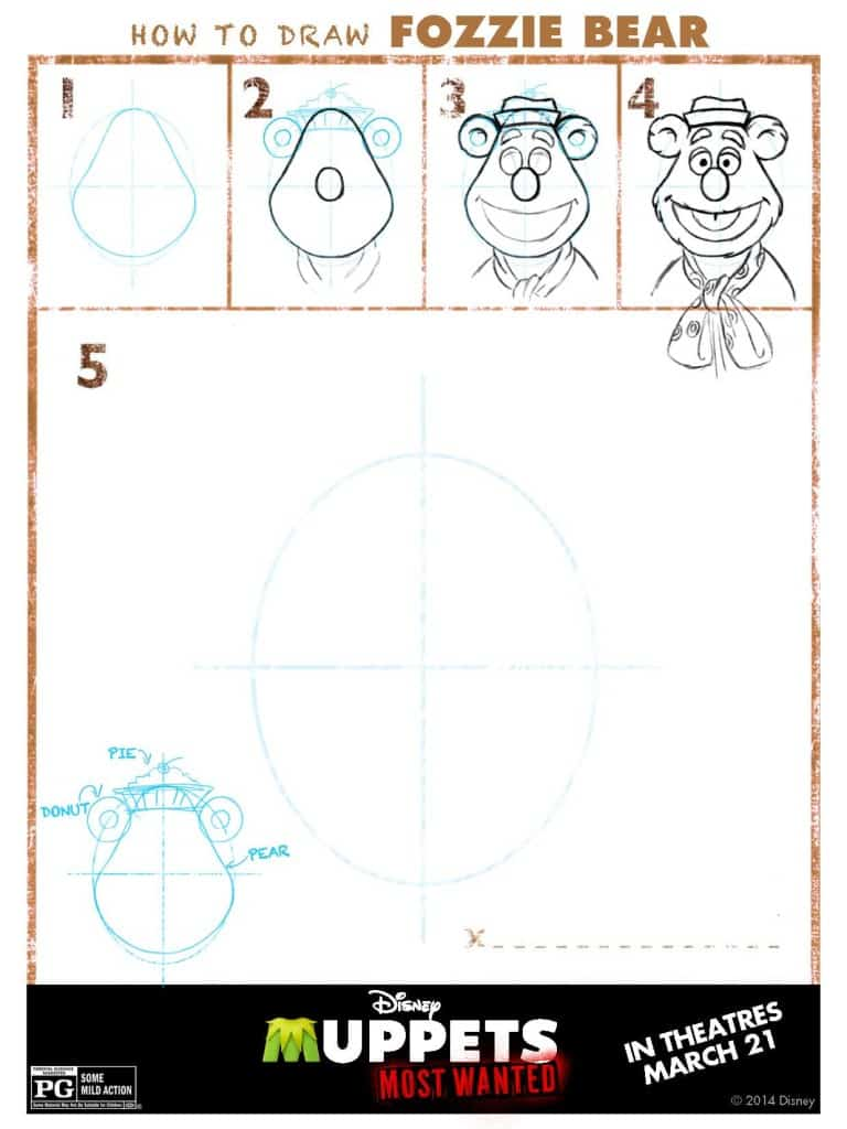 Draw Fozzie, Muppets Most Wanted Free printables, Muppets free printable