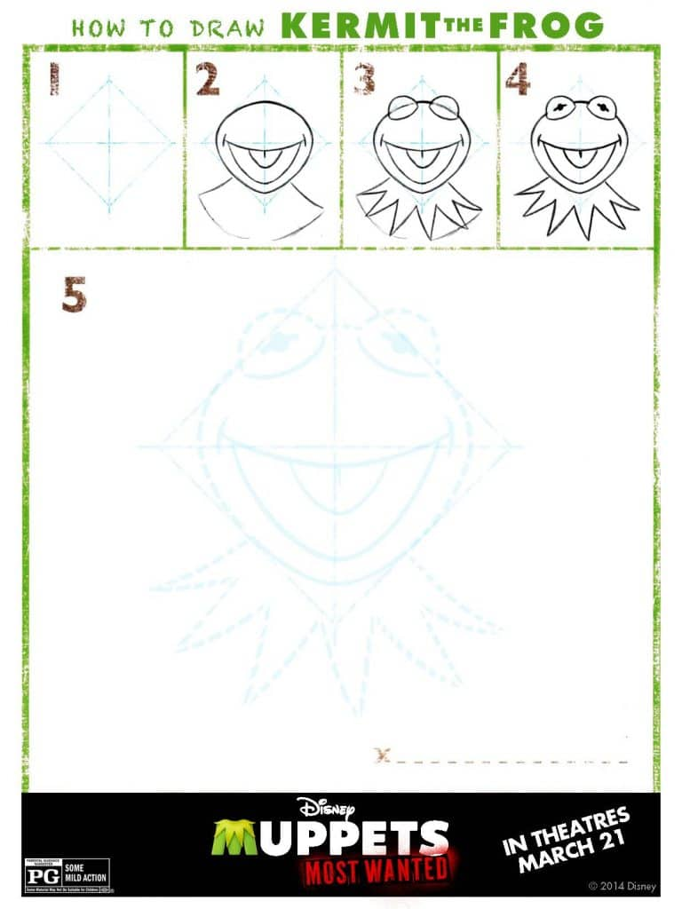 Draw Kermit, Muppets Most Wanted Free printables, Muppets free printable