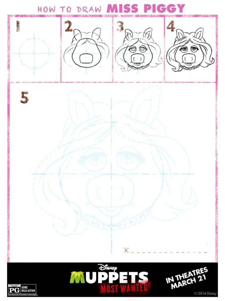 How to Draw Miss Piggy, Muppets Most Wanted Free printables, Muppets free printable