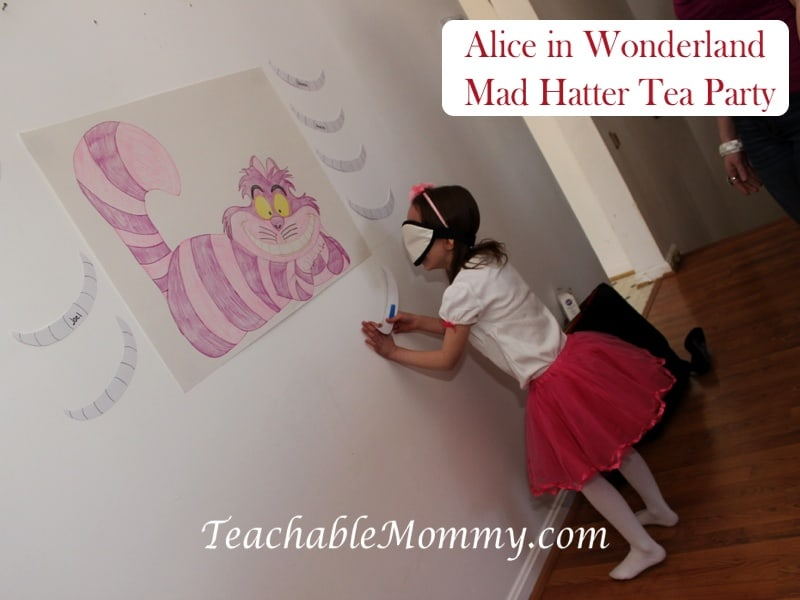 Alice in Wonderland Birthday Party, Mad Hatter Tea Party Birthday, cheshire cat game