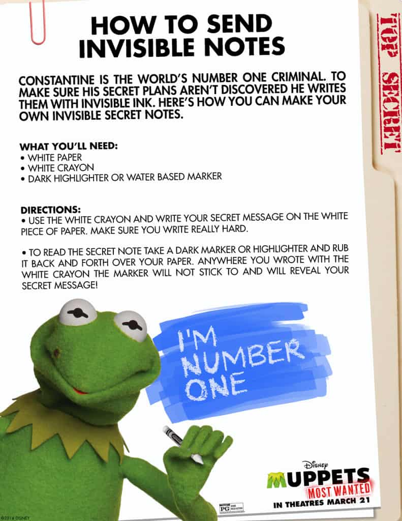 Muppets Most Wanted Free printables, Muppets free printable, Invisible notes craft