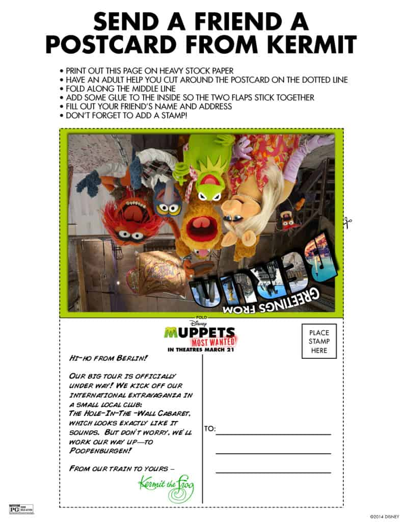 Kermit Postcard, Muppets Most Wanted Free printables, Muppets free printable
