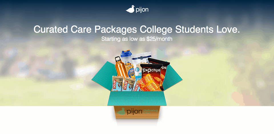 Pijon Box Natural Snacks, products and other fun stuff for college students. Monthly care box for students as low as $25/month!