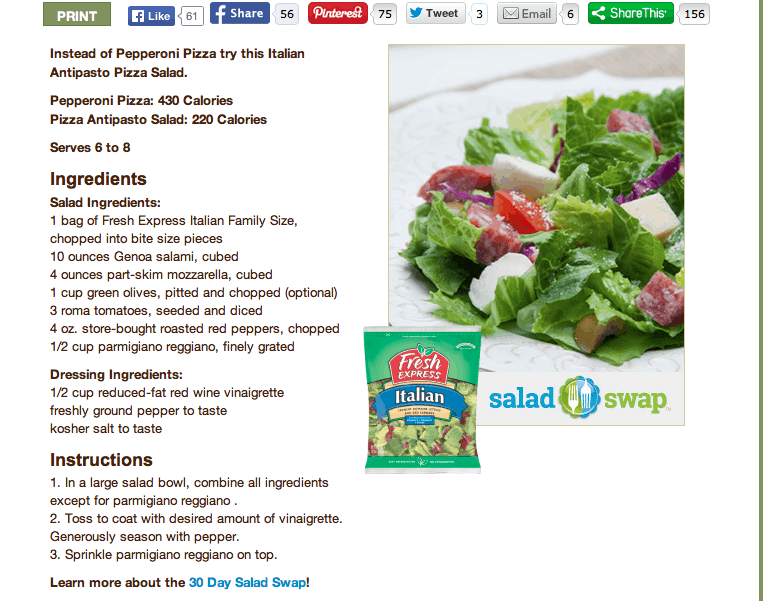 Fresh Express #SaladSwap Pizza Antipasto Salad