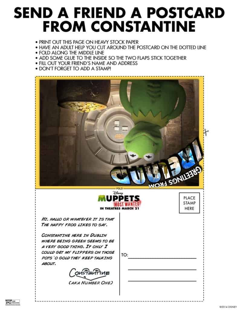 Constantine Postcard, free Muppets printables