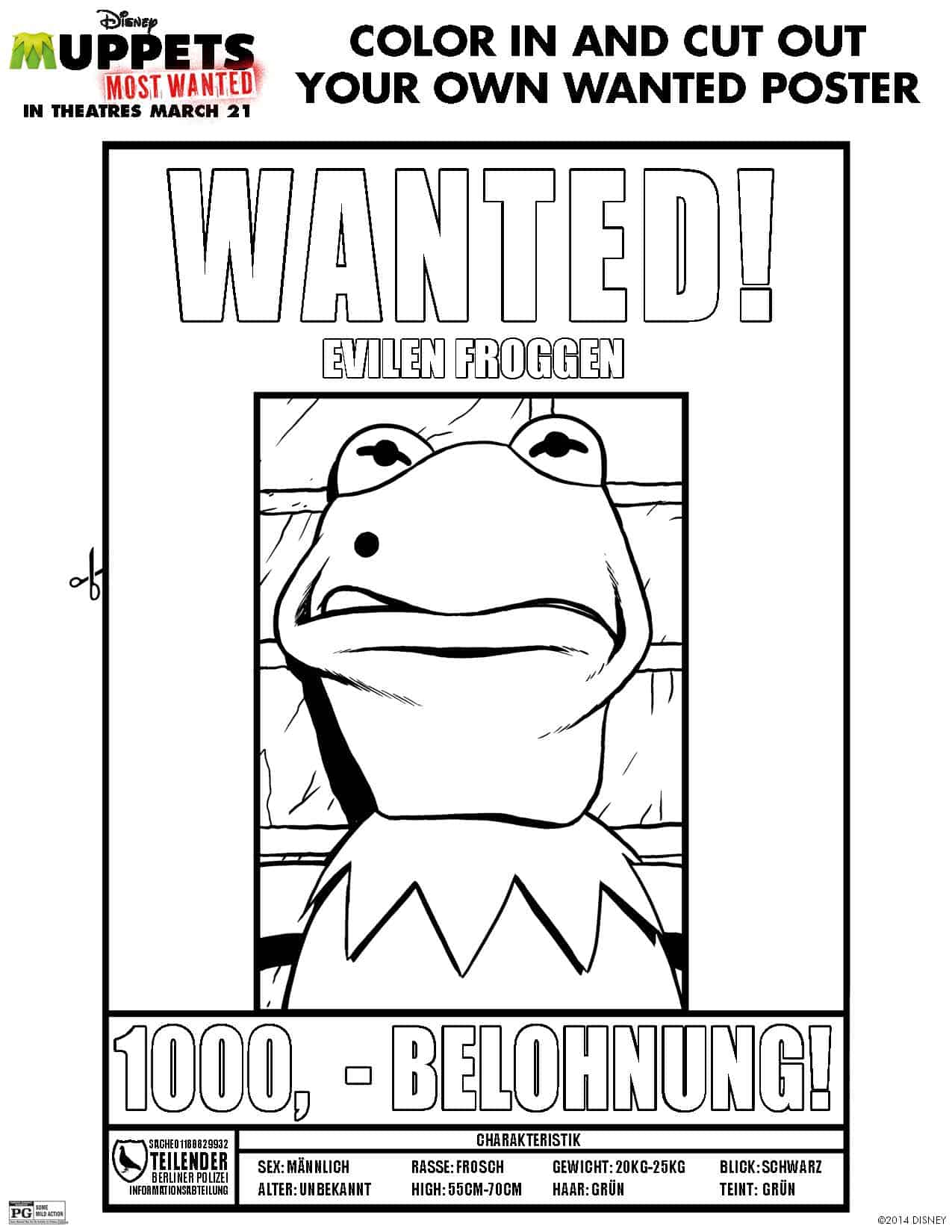 The Muppets Most Wanted Review and More Free Printables – Free Printable Wanted Poster