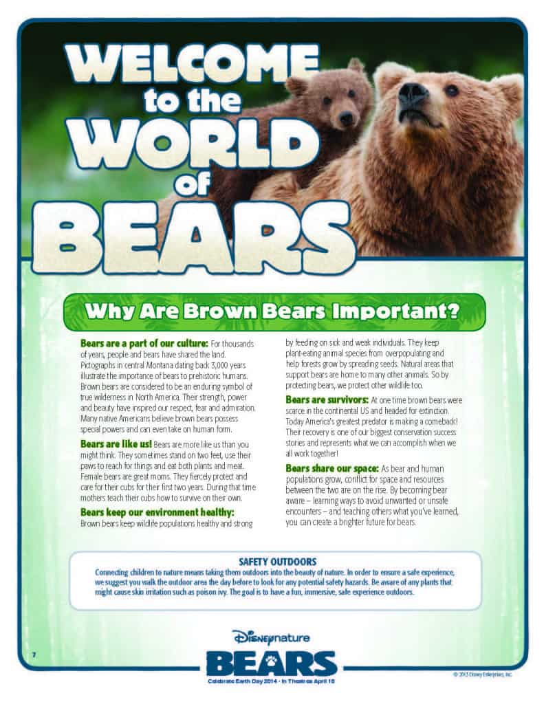 Welcome to the World of Bears, DisneyNature's Bears free printables activities