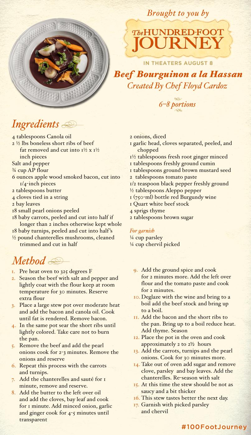 Beef Bourguinon a la Hassan recipe, 100 Foot Journey Recipes