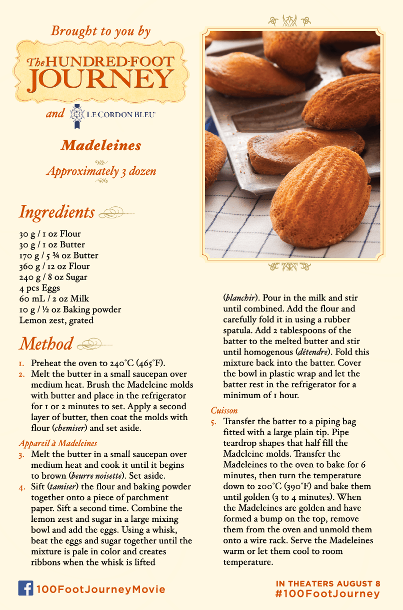Madelines recipe, 100 Foot Journey Recipes