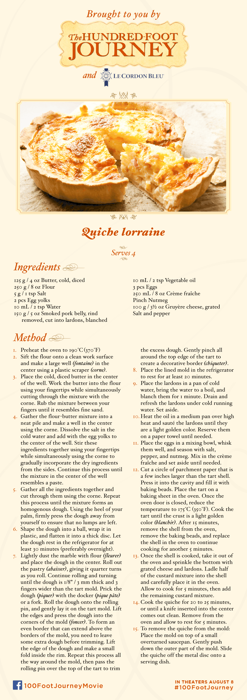 Quiche Lorraine recipe, 100 Foot Journey Recipes