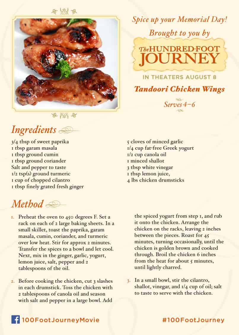 Tandoori Chicken Wings recipe, 100 Foot Journey Recipes