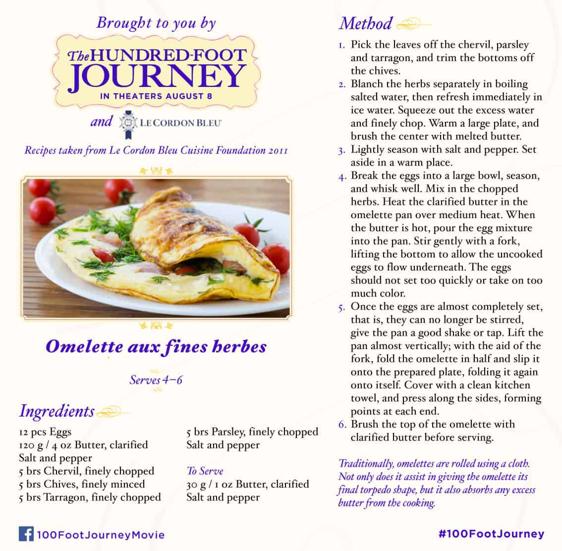 omelette aux fines herbes recipe, 100 Foot Journey Recipes