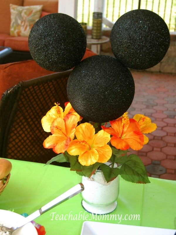Mickey Mouse Birthday Party, Mickey Mouse Party, Mickey Mouse Luau, DIY Mickey Mouse centerpiece