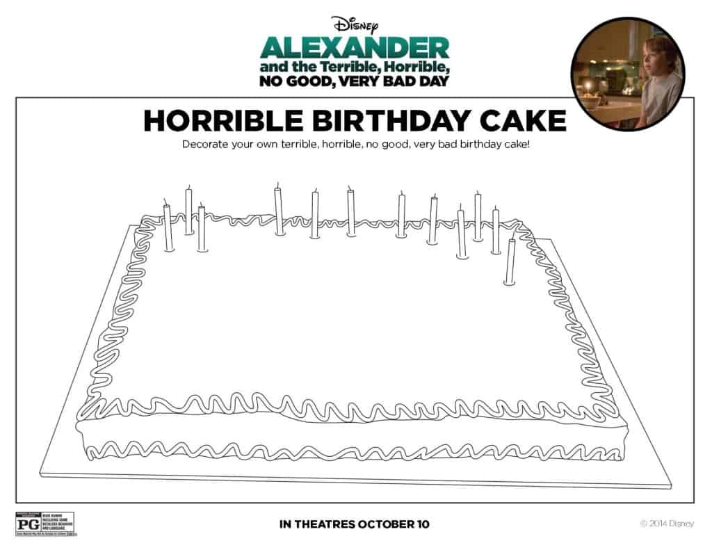Alexander and the Terrible, Horrible, No Good, Very Bad Day movie trailer, images, activity sheets, free printables