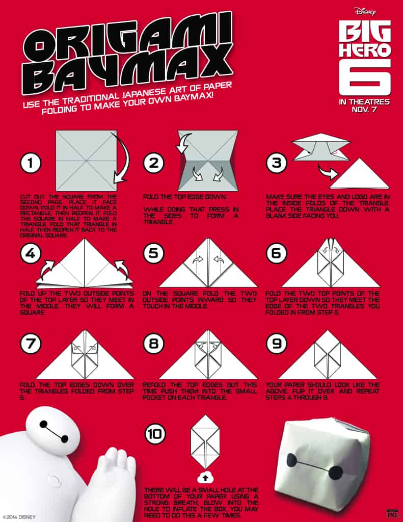 Baymax Origami, Free Big Hero 6 printables, Big Hero 6 birthday activities