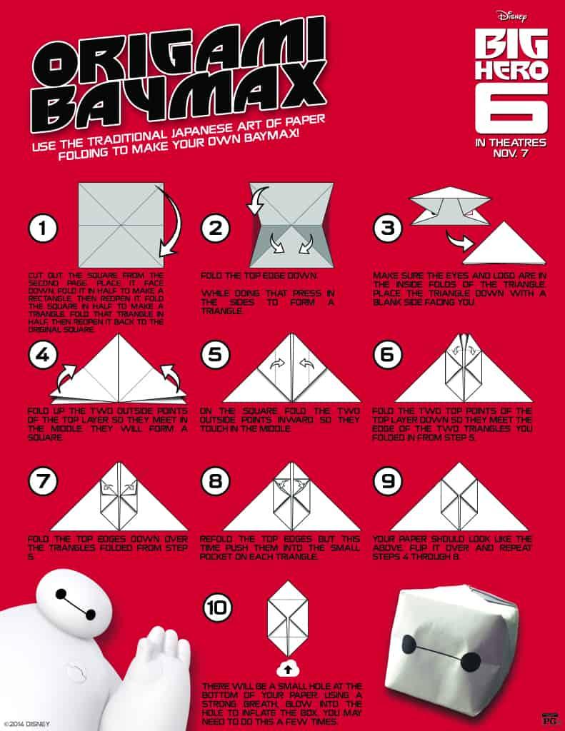 Baymax Origami, Free Big Hero 6 printables, Big Hero 6 birthday activities