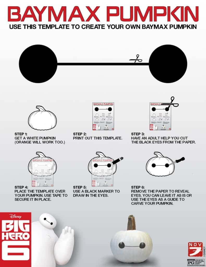 Baymax Pumpkin, Free Big Hero 6 printables, Big Hero 6 birthday activities