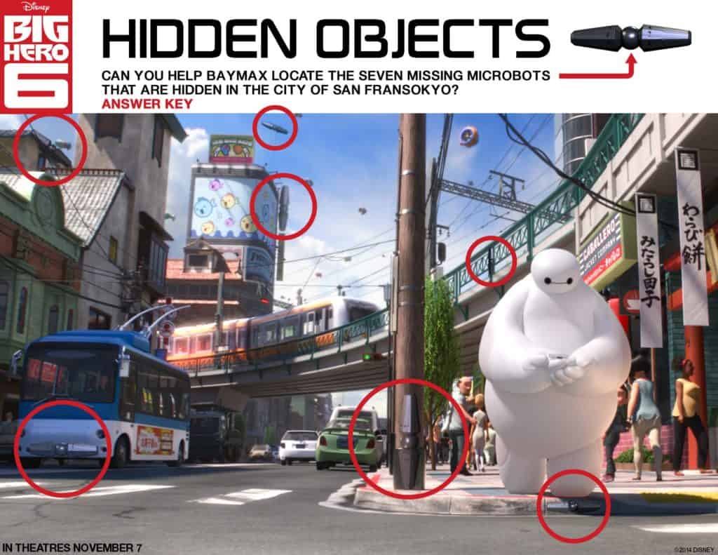 Baymax Hidden Objects, Free Big Hero 6 printables, Big Hero 6 birthday activities