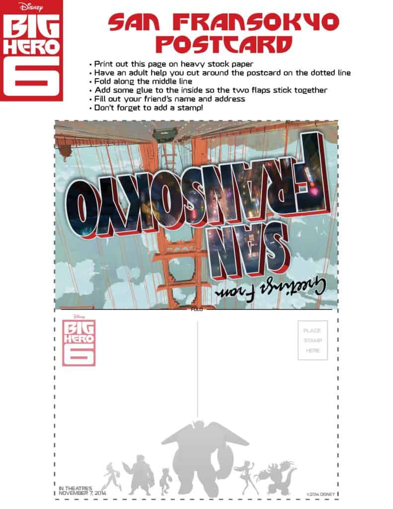 Big Hero 6 San Fransokyo Postcard, Big Hero 6 birthday activities, Big Hero 6 free printables