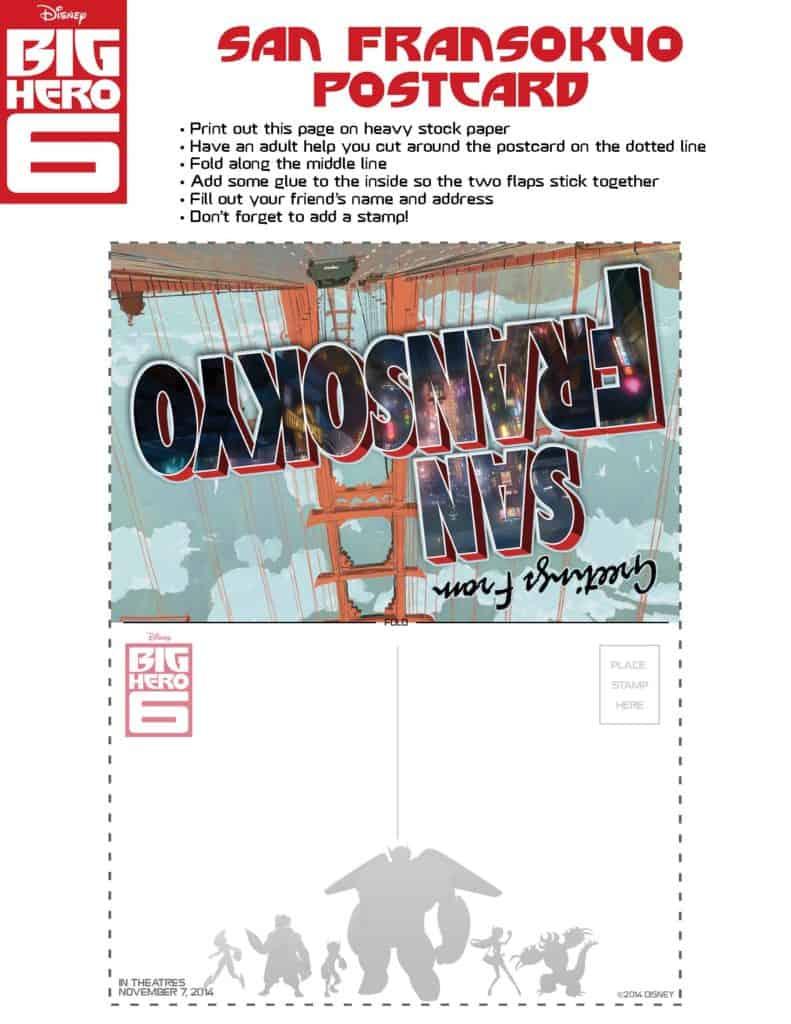 Big Hero 6 San Fransokyo Postcard, Big Hero 6 birthday activities, Big Hero 6 free printables