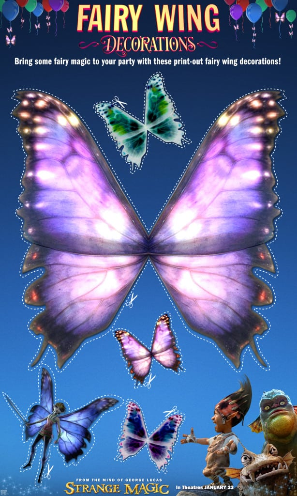 Fairy Wings Strange Magic Free Printables, Strange Magic Birthday Party