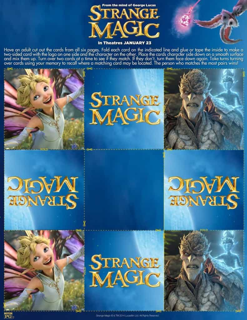 Matching Cards, Strange Magic Free Printables, Strange Magic Birthday Party