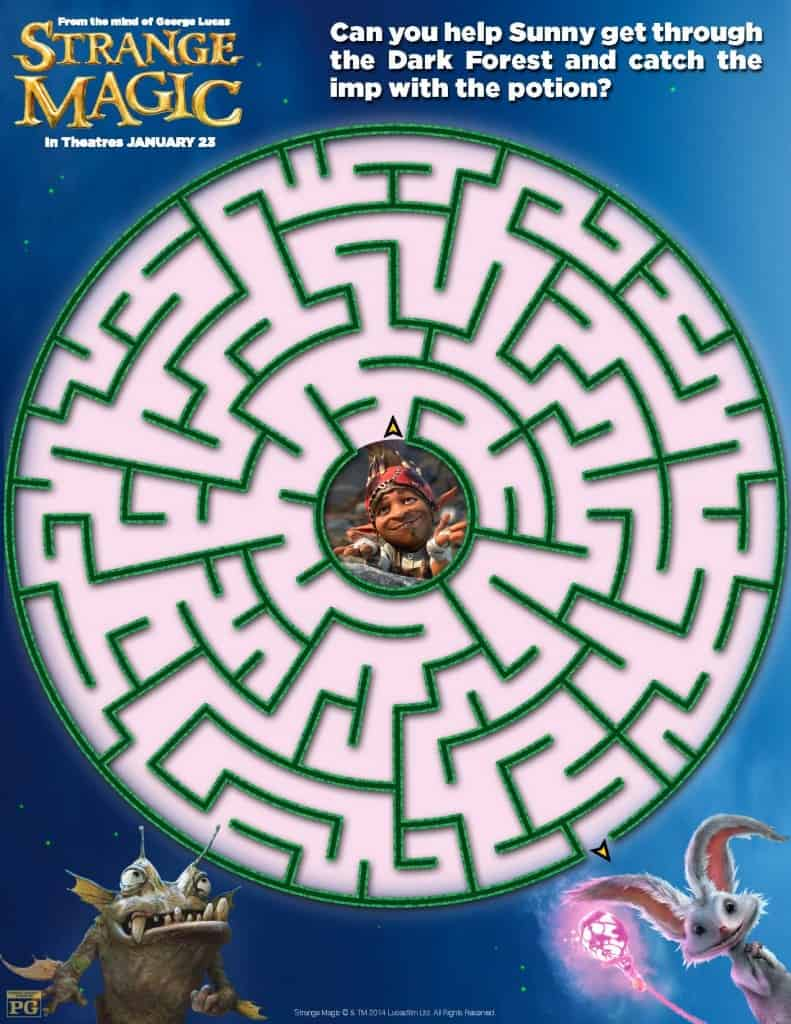 Maze,  Strange Magic Free Printables, Strange Magic Birthday Party