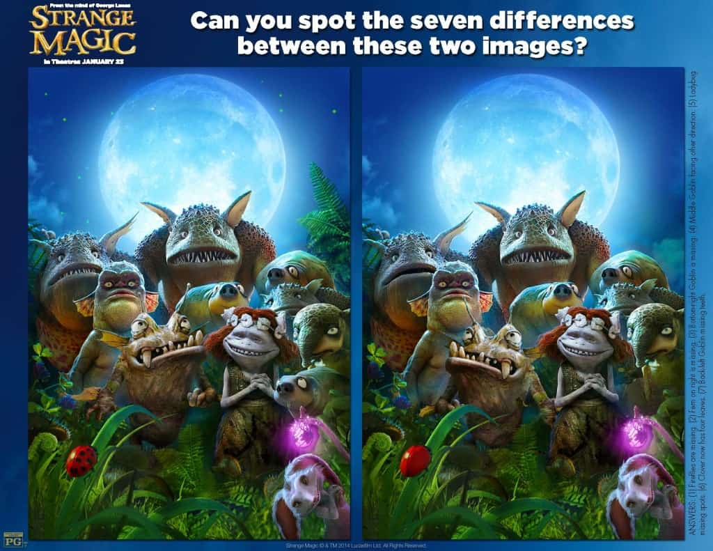 Spot the Difference,   Strange Magic Free Printables, Strange Magic Birthday Party