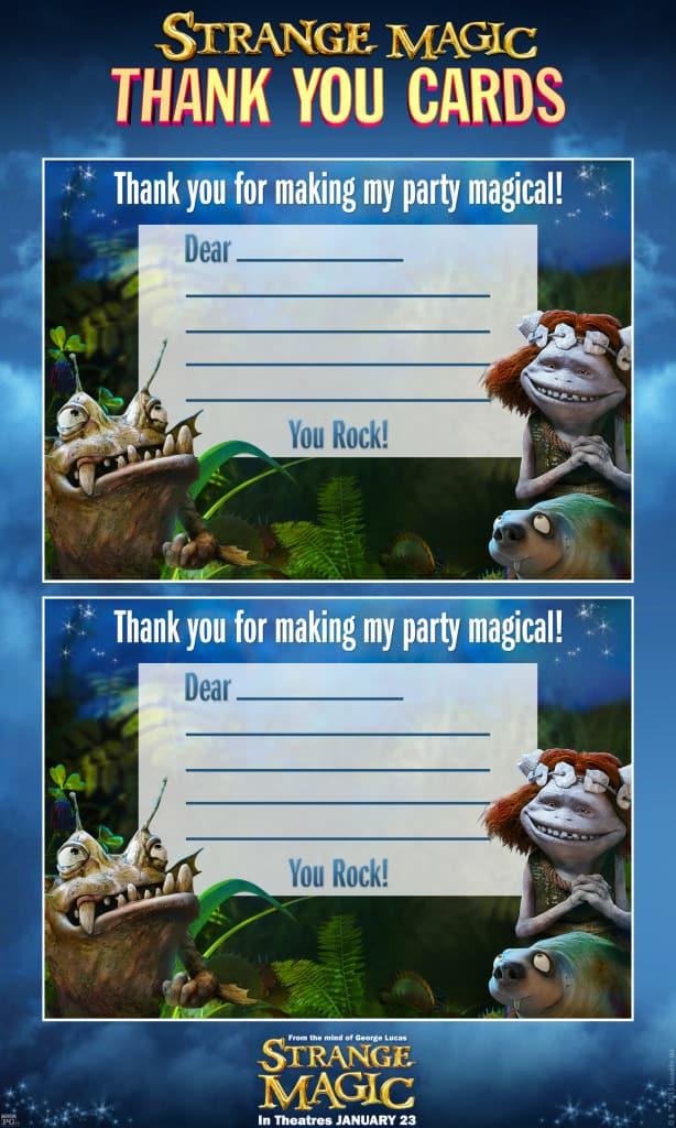 Thank You Cards,   Strange Magic Free Printables, Strange Magic Birthday Party