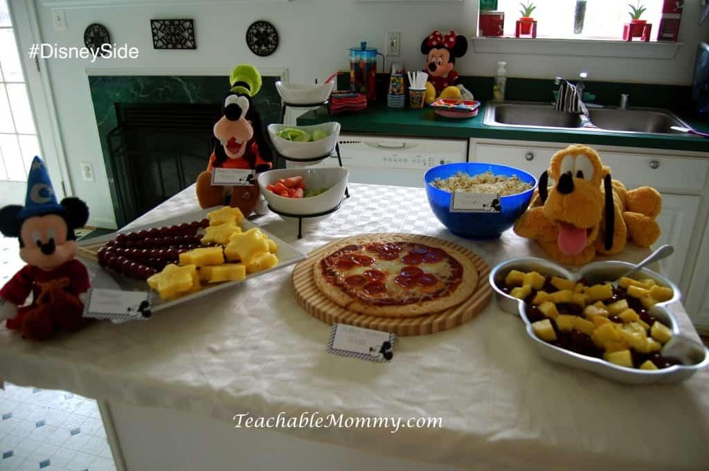 #DisneySide @ Home Party, Disney Party ideas, Mickey Party Ideas, Mickey Mouse party food