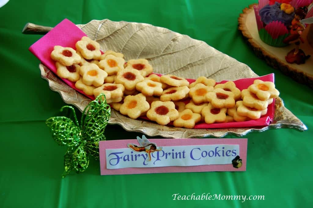 Tinkerbell Birthday Party, Tinkerbell Party, Tinkerbell party food, Tinkerbell Decorations, Pixie Hollow party, Flower Thumbprint cookies