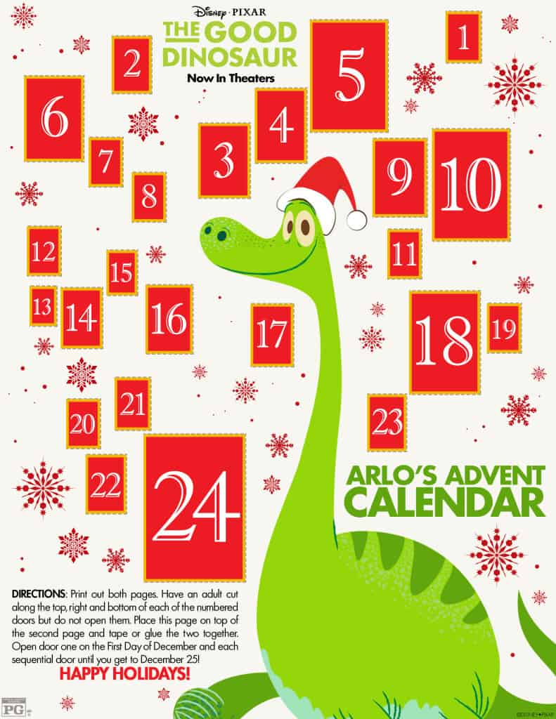The Good Dinosaur, The Good Dinosaur Free printable, The Good Dinosaur Review, #GoodDIno, Advent Calendar