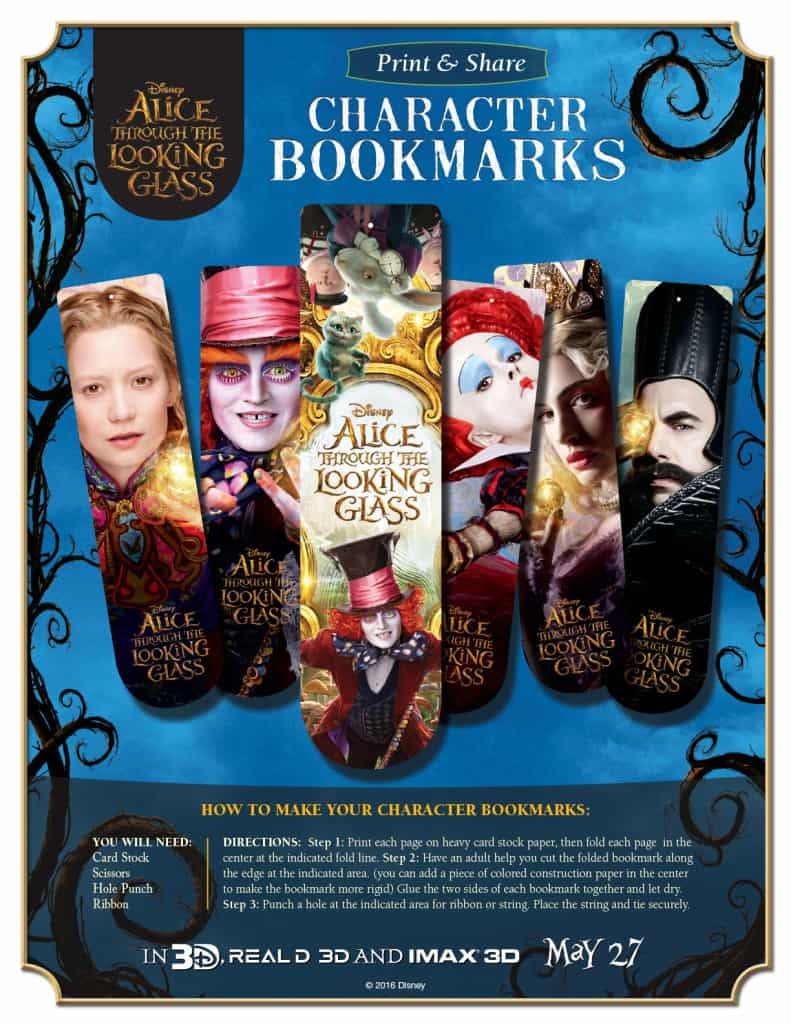 Alice Through The Looking Glass, Alice Through the Looking Glass Free Printable Activities, Free Disney Printables, Alice in Wonderland Coloring Sheets, Free Disney Coloring sheets