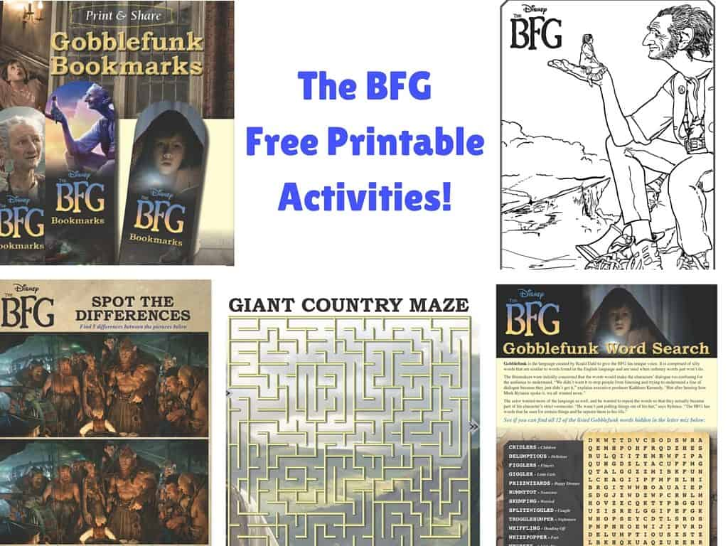 THE BFG Free Printable Activities, The BFG free coloring sheets