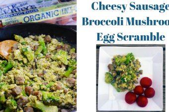 Cheesy Sausage Broccoli Mushroom Egg Scramble