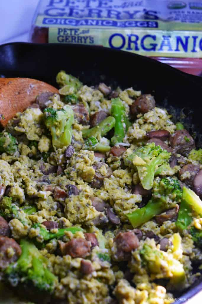 Cheesy Sausage Broccoli Mushroom Egg Scramble
