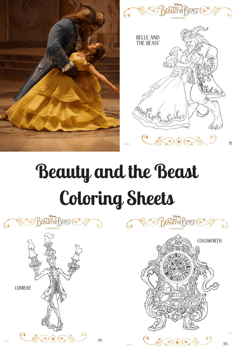 beauty and the beast coloring sheets teachable mommy