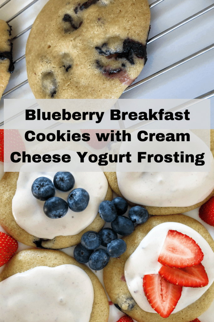 Blueberry Breakfast Cookies with Cream Cheese Yogurt Frosting