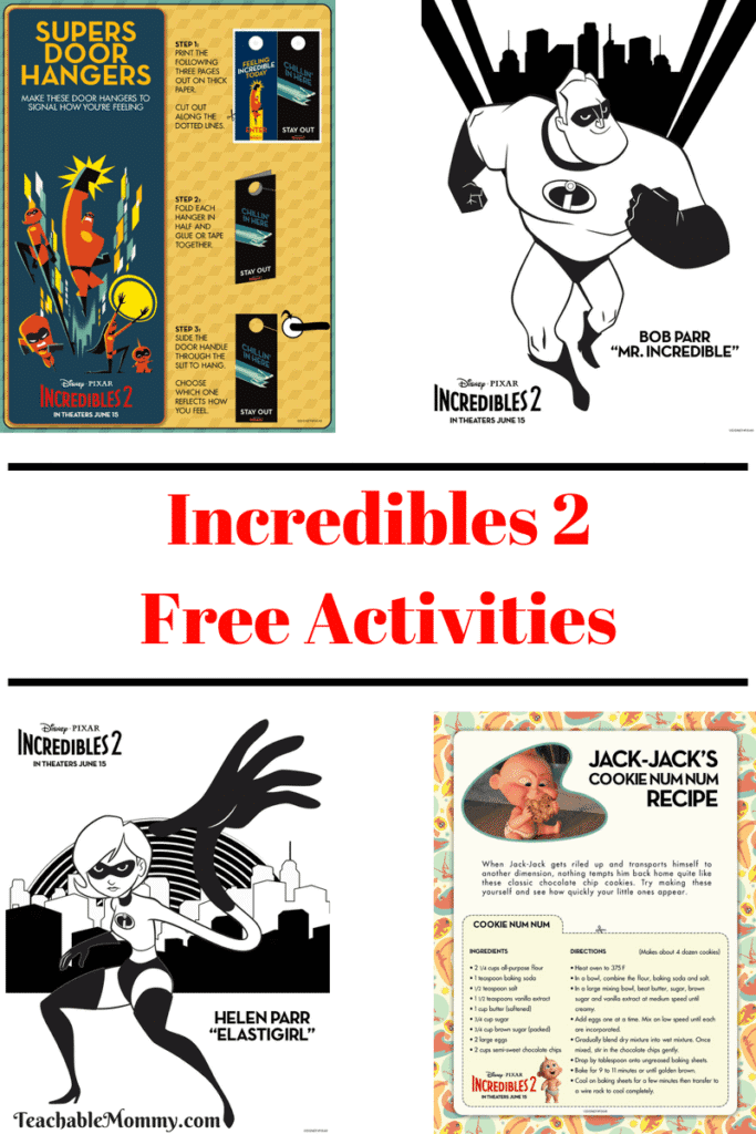 Incredibles 2 Free Printable Activities