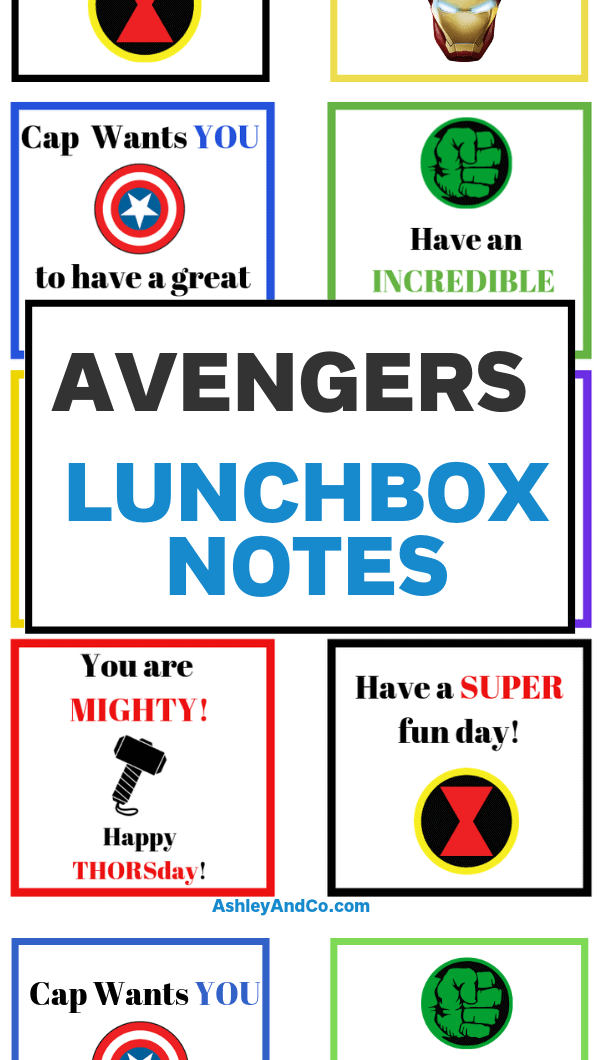 Avengers Lunchbox Notes