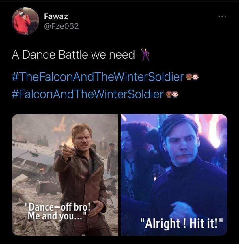 falcon and winter soldier memes dance off