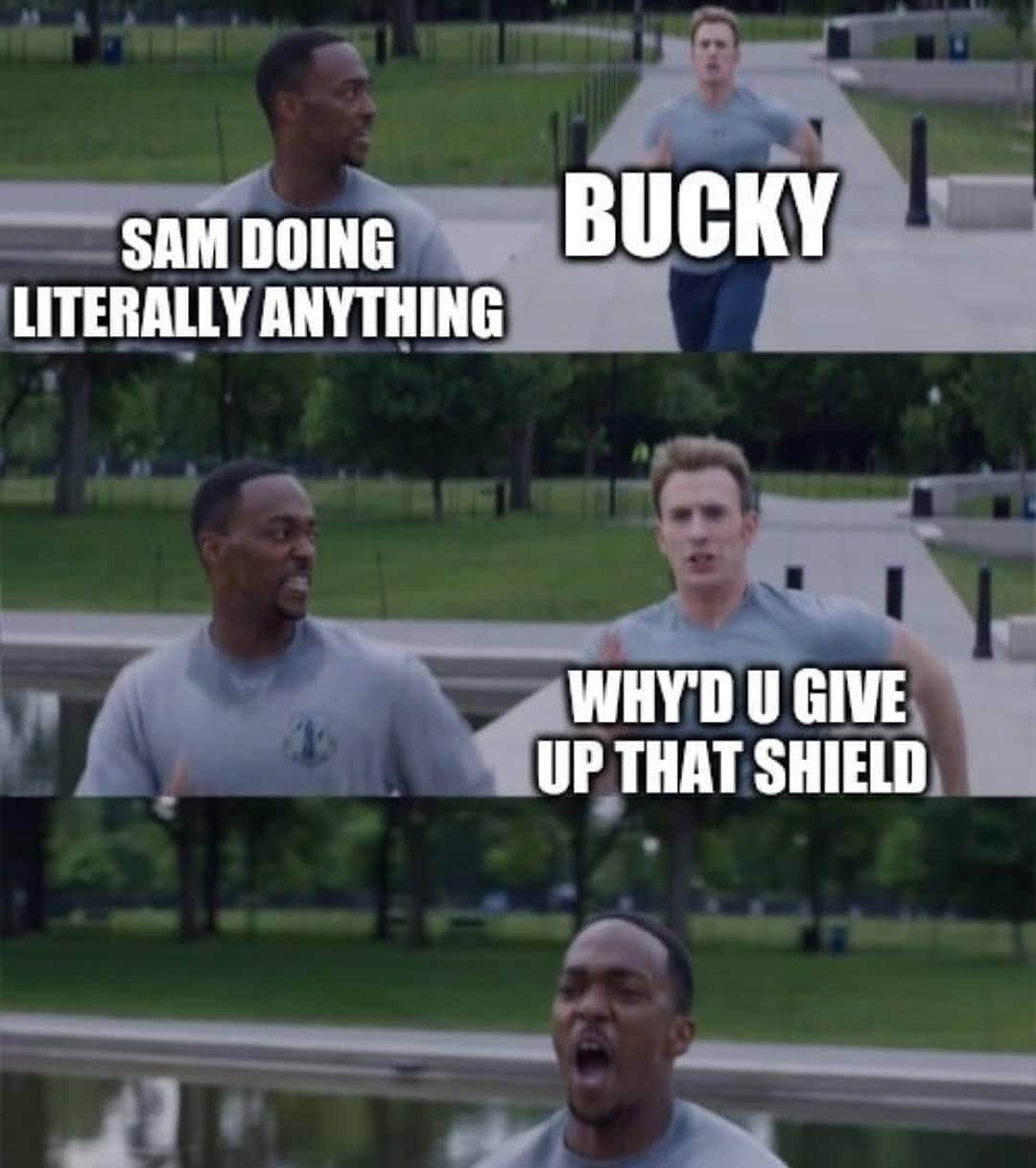falcon and winter soldier memes sam and bucky on your left