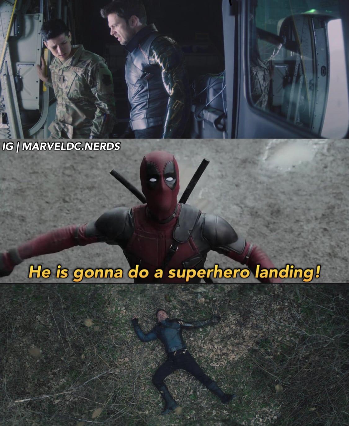 falcon and the winter soldier memes superhero landing meme