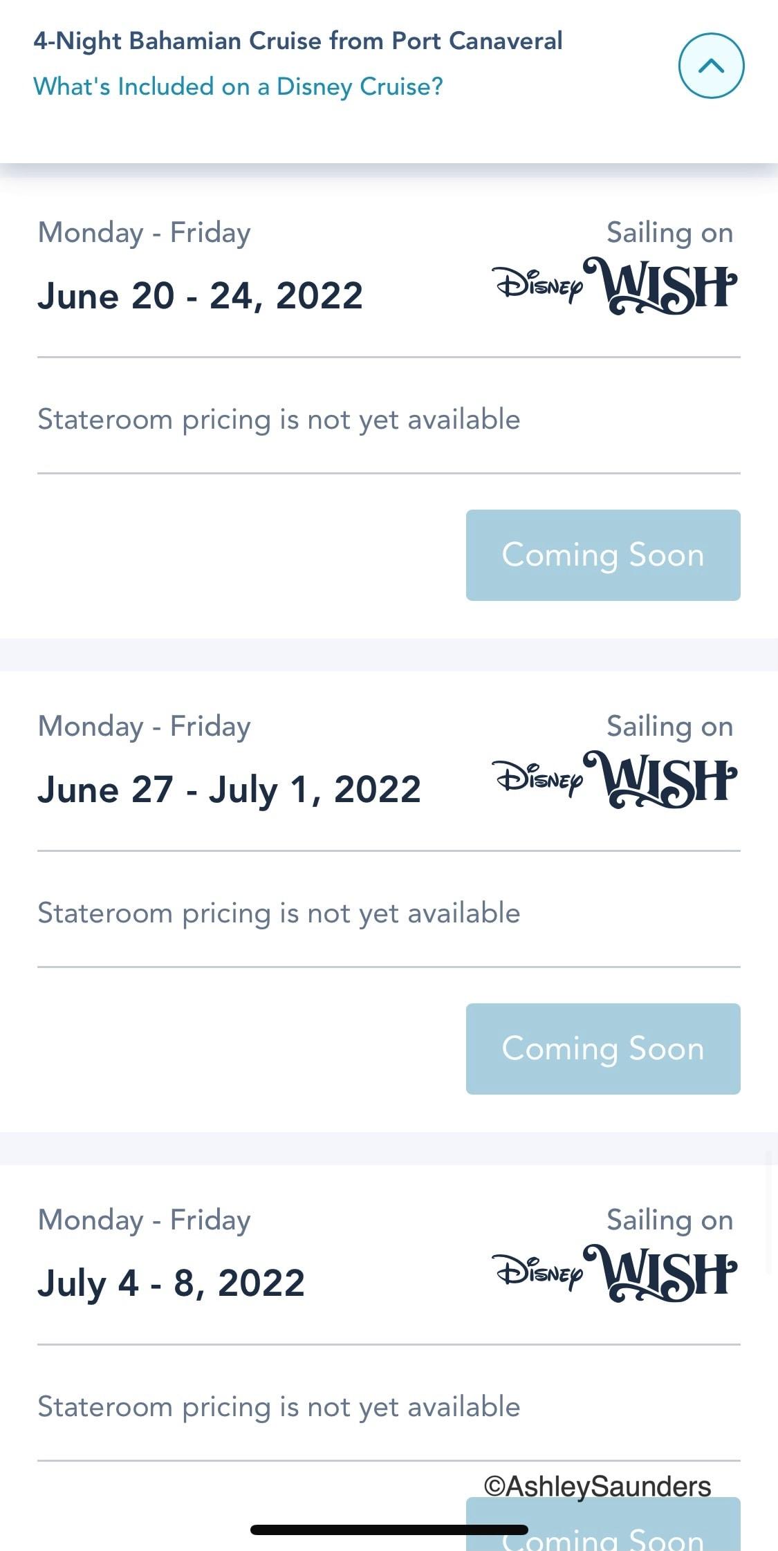 Disney Wish Itineraries